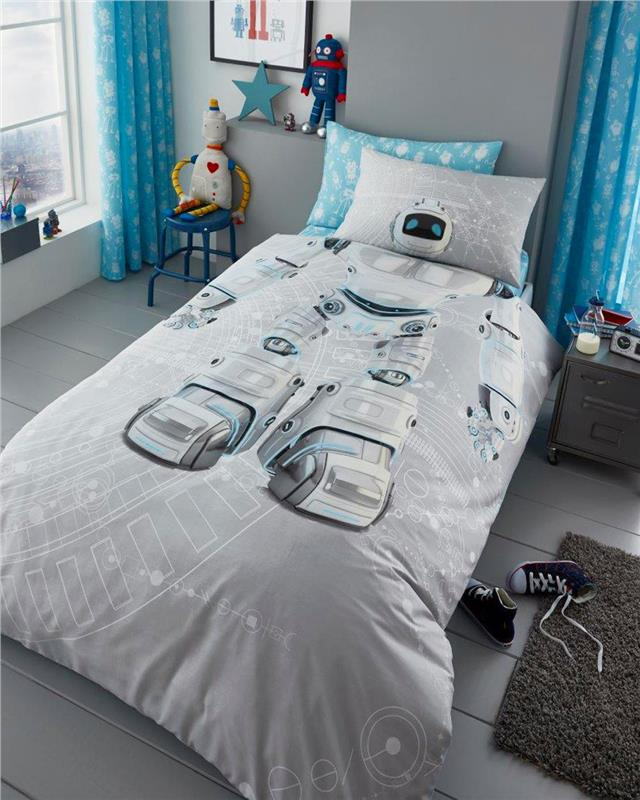 Single duvet set robot AI boys bedding childrens kids quilt cover pillow case
