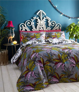 Duvet Sets Grey Exotic Leaf Jungle Palm Tree Quilt Cover Reversible Bedding