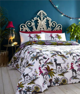 Duvet sets tropical palm fern quilt cover jumbled safari animal bedding
