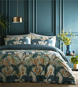 Duvet sets Indian elephant teal & ochre tropical palm fern quilt cover bedding