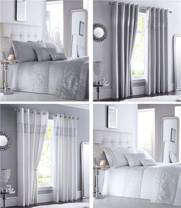 Luxury duvet cover sets diamante silver sequins bedding & curtains available