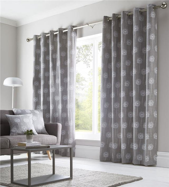 Grey curtains lined eyelet ring top ready to hang pair contemporary print