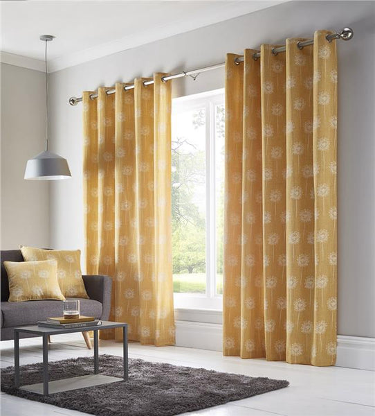 Lined curtains ochre yellow or grey pair of eyelet ring top ready made
