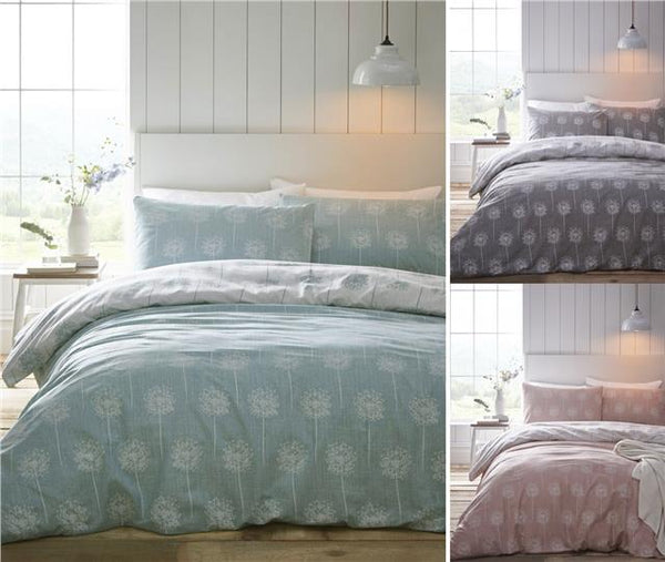 Duvet cover sets contemporary dandelion clocks aqua grey coral pink bedding