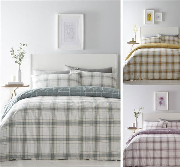 Check duvet sets reversible quilt covers ochre duck egg teal or mauve bedding