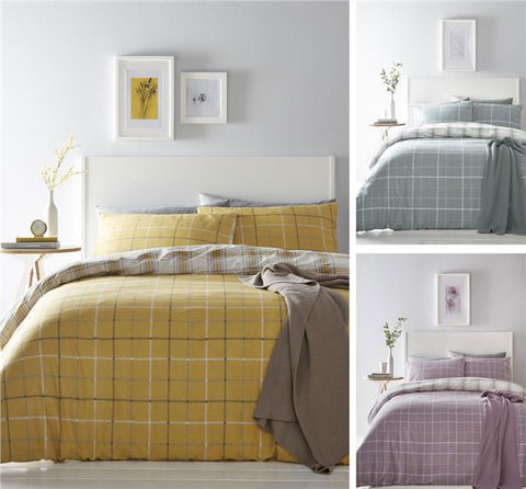 Tartan check duvet set quilt cover & pillow case ochre duckegg or mauve purple