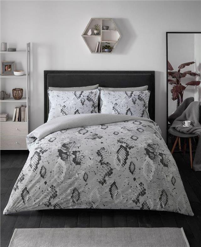 Grey snake skin duvet sets quilt cover bed set animal print bedding