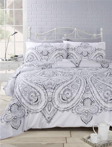 SINGLE Duvet set grey charcoal paisley bedding ink style design quilt cover