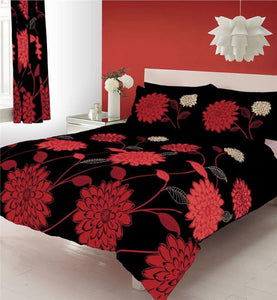 KING SIZE duvet quilt cover bed set black & red big flower print duvet set