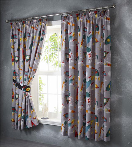 Curtains lined pencil pleat childrens bedroom grey outer space astronaut rockets