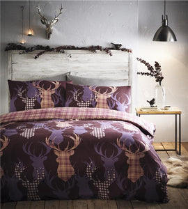 Stag duvet set tartan check quilt cover bed set aubergine plum rustic bedding