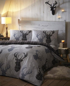 Stag duvet sets with tartan check reverse quilt cover grey / blue rustic bedding