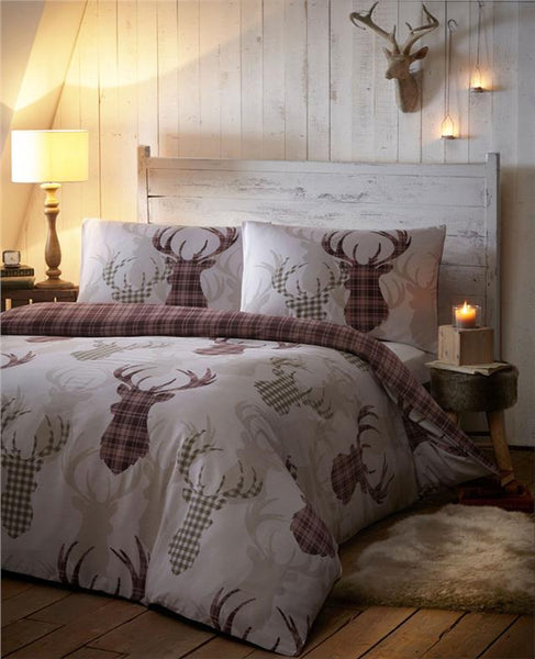 DUVET SETS TARTAN STAG REVERSIBLE BEDDING CHECKED QUILT COVER BED SET NATURAL