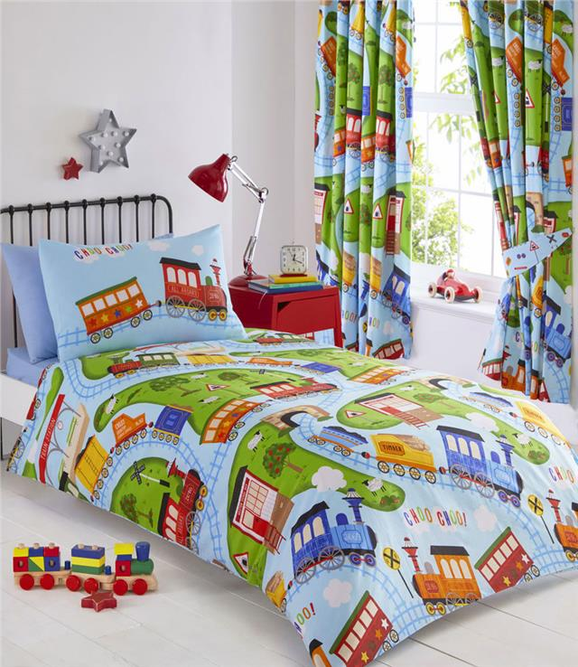 Boys toy train duvet sets childrens quilt covers bedding & matching curtains