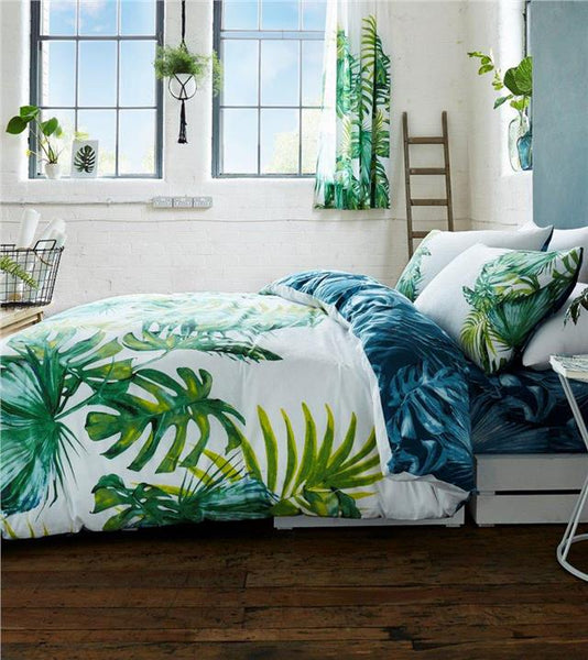 Duvet sets green tropical palm leaf print bedding quilt cover & pillow cases