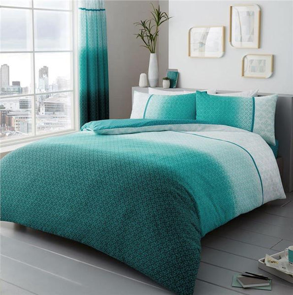 Duvet sets teal ombre quilt cover & pillow cases contemporary bedding