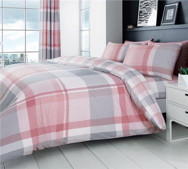Pink bedding duvet set check quilt cover pillow cases modern grey & blush tartan