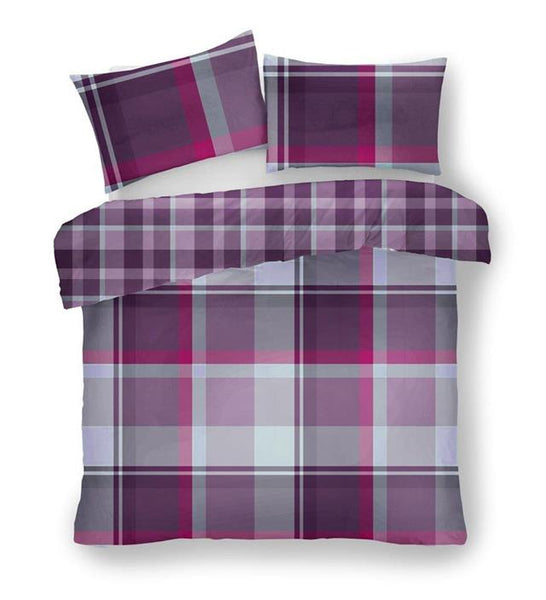 Duvet set quilt cover & pillow cases wide tartan check squares purple grey red