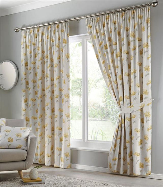 Pencil pleat curtains terracotta blue ochre yellow flower lined pair ready made