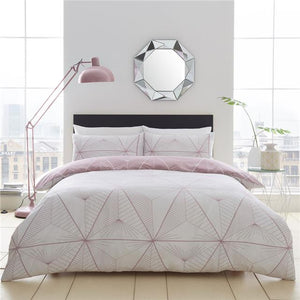Duvet set geometric linear design bedding dark pink quilt cover & pillow cases