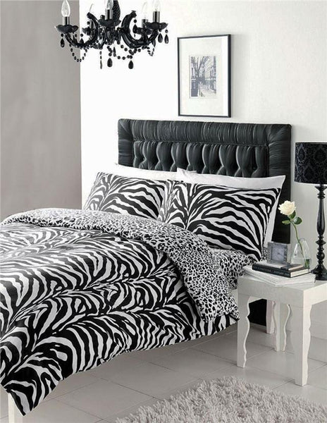 Zebra print duvet sets black & white quilt cover bed set animal print bedding