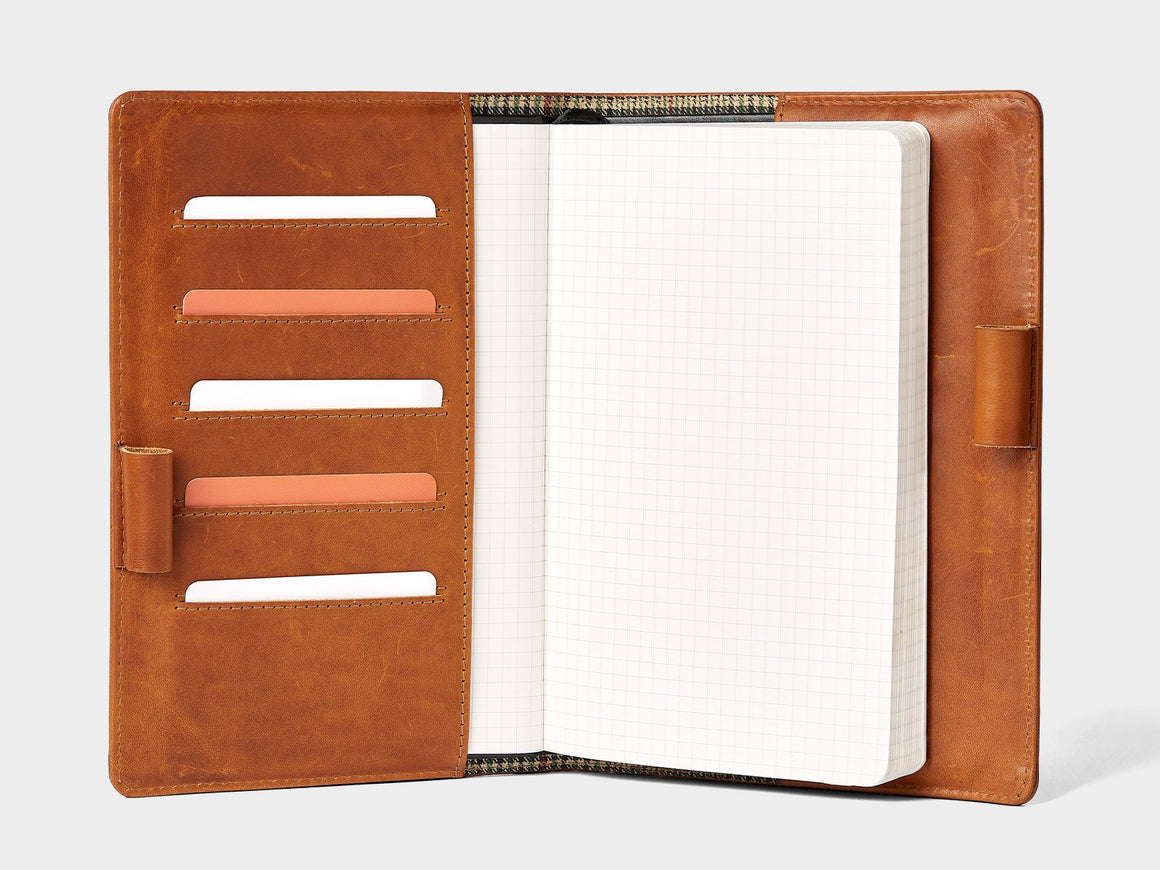 tan leather Moleskine notebook cover