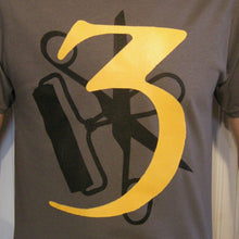 3 (Three) - T-shirt CHARCOAL / YELLOW & BLACK