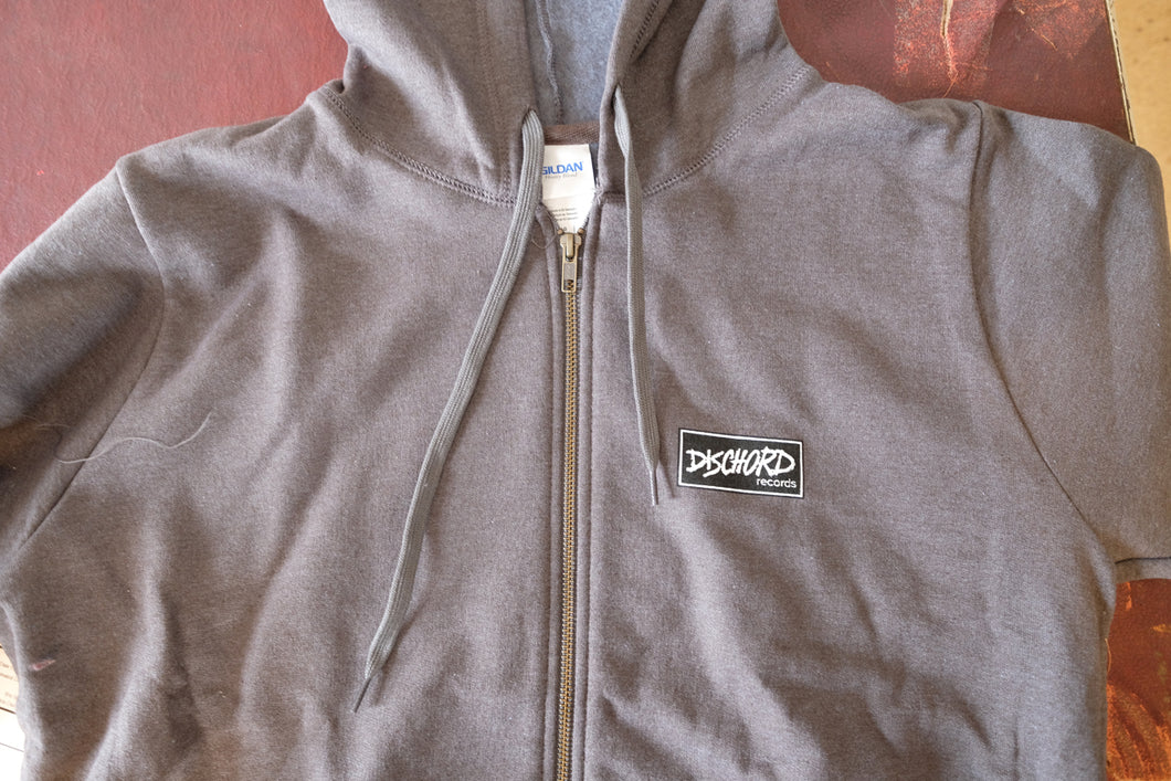 Dischord Box Logo - Full-Zipper Hooded Sweatshirt ADULT - TWEED