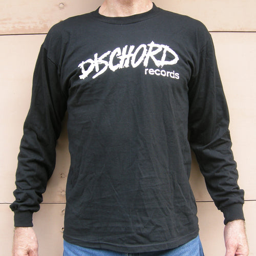 Old Dischord Logo - Long-Sleeve T-shirt BLACK / WHITE