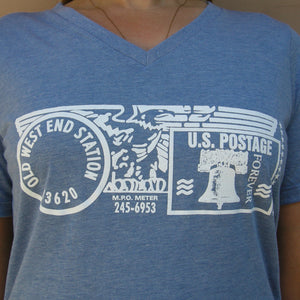 Old West End Post Office - Ladies' V-Neck - Blue Tri-Blend