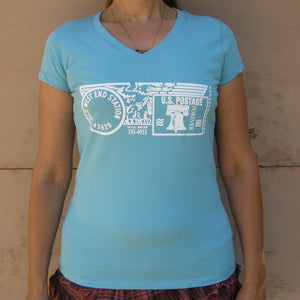 Old West End Post Office - Ladies' V-Neck - Ocean Blue