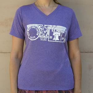 Old West End Post Office - Ladies' V-Neck - Purple Tri-Blend