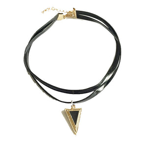 Retro Triangle Leather Chain Necklace