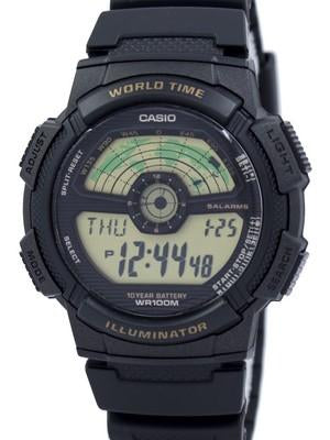 Casio Youth Illuminator World Time World Map AE-1100W-1BV AE1100W-1BV Mens Watch
