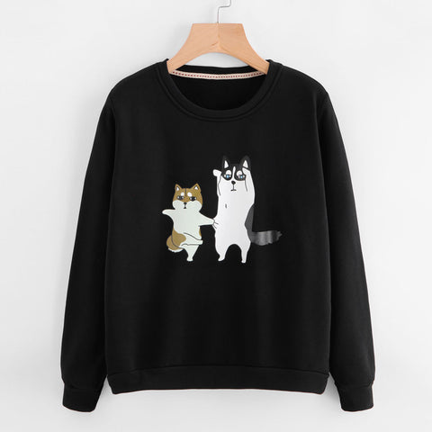 Cute Cartoon Dog Printing Black Sweatshirt