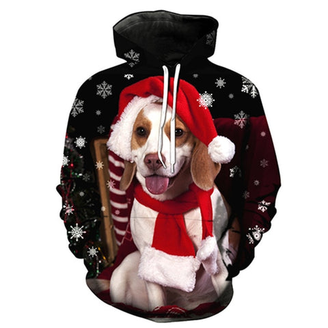 Image of Xmas Hoodies 3D Pattern dogs