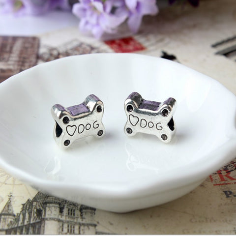 silver plated Big hole dog bone charms