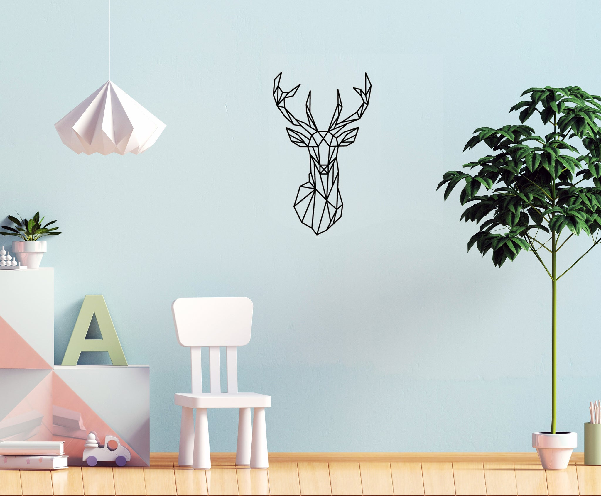 Geometric Young Deer Wall Decal   Wall Stickers For Kids Room   Nursery  Decor   Wall ...