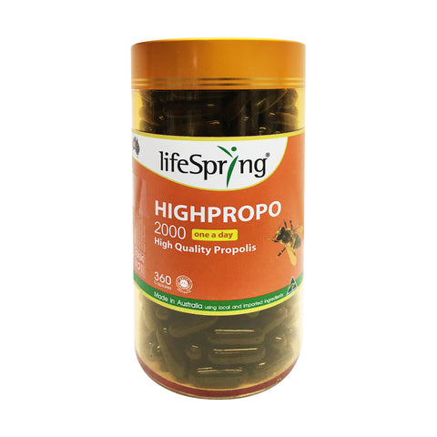 Life Spring Highpropo 2000mg High Quality Propolis (360 capsules) (LS14)
