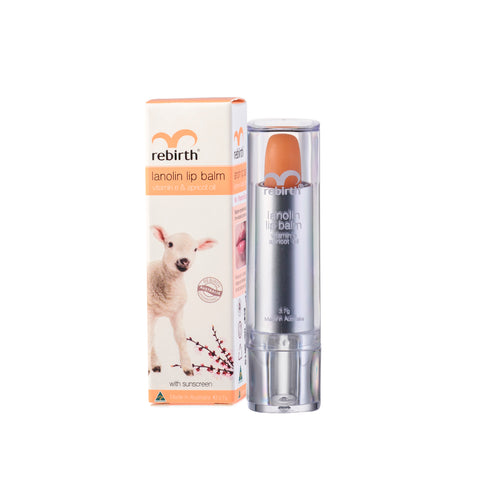 Rebirth Lanolin Lip Balm with Vitamin E & Apricot Oil (RB14)
