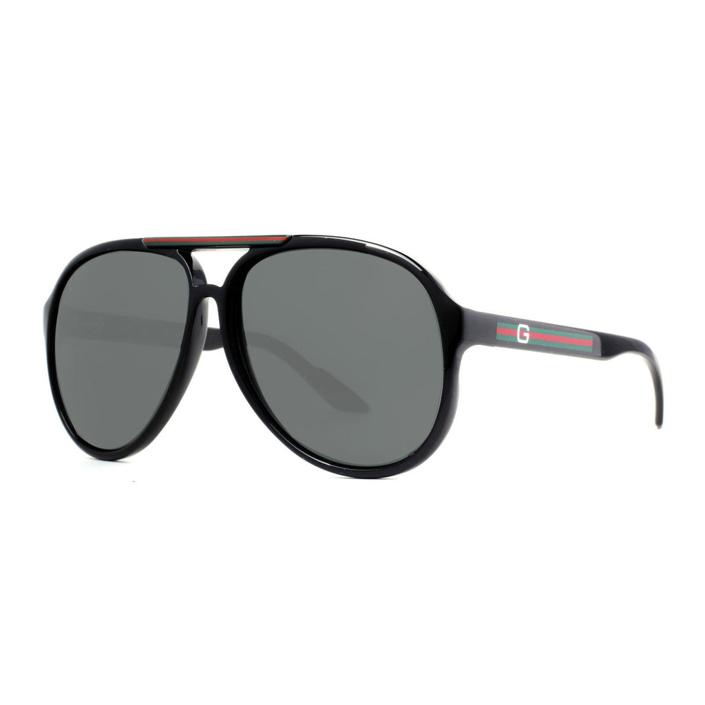 a36202deac3 Gucci GG 1627 S D28 R6 Shiny Black Grey Unisex Aviator Sunglasses ...