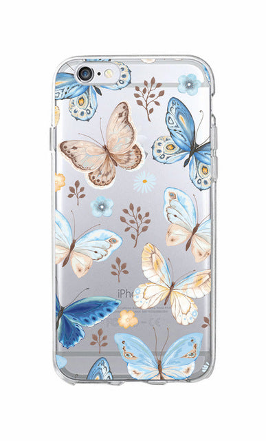 Cute Bird Butterfly Floral Flower Soft Clear Phone Case