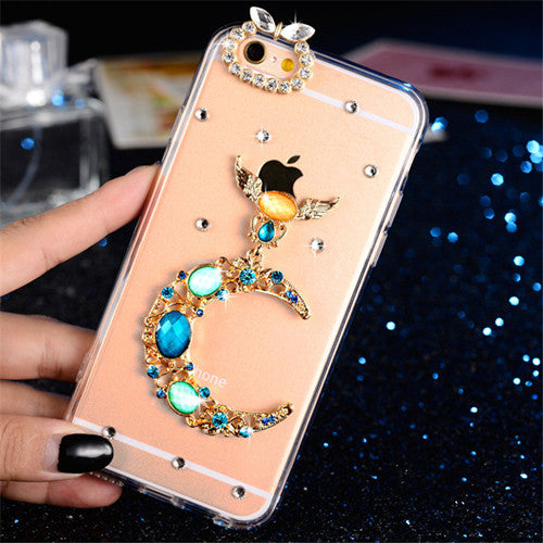 Crystal Diamond Bowknot Rose Peacock Beautiful Girl Phone Cases