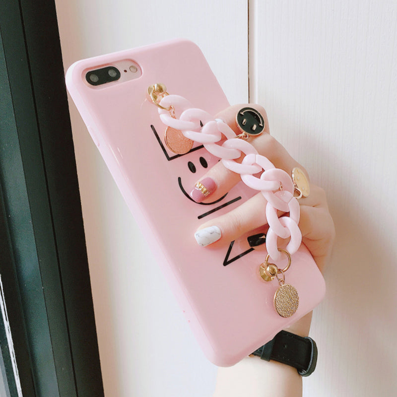 Cute Little Smile Pendant NICE Smile Face Case for iPhone 7 7plus Chain Grip Case for iPhone 6 6s 6plus 6splus Korean Style