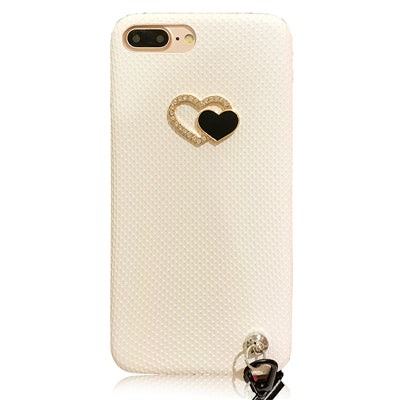 White Love Heart Grip Strap Phone Case