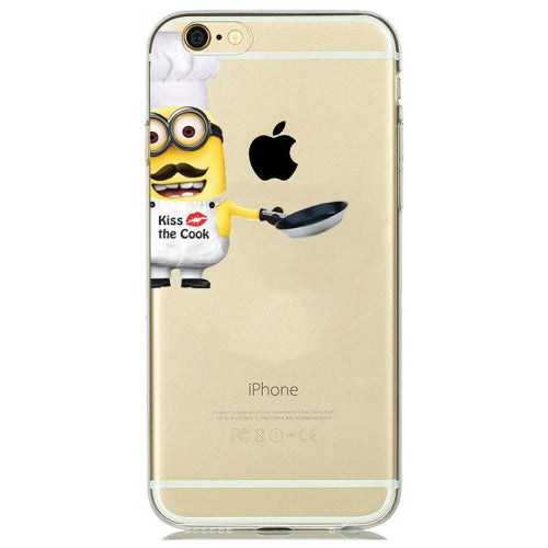 Minion Case Cover fundas Transparent Soft Clear Gel holster