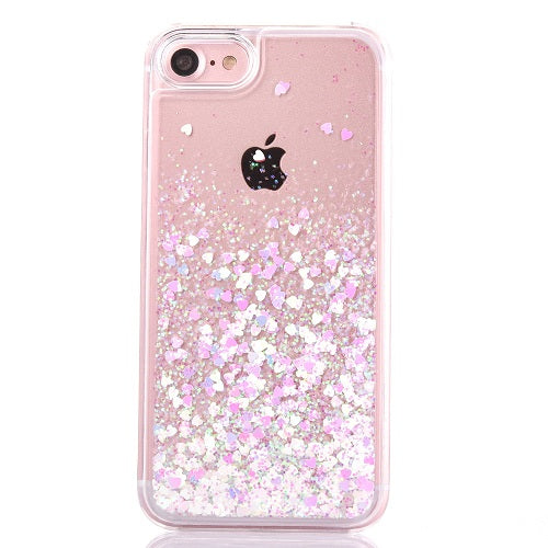 Liquid Love Heart Glitter Stars Phone Case