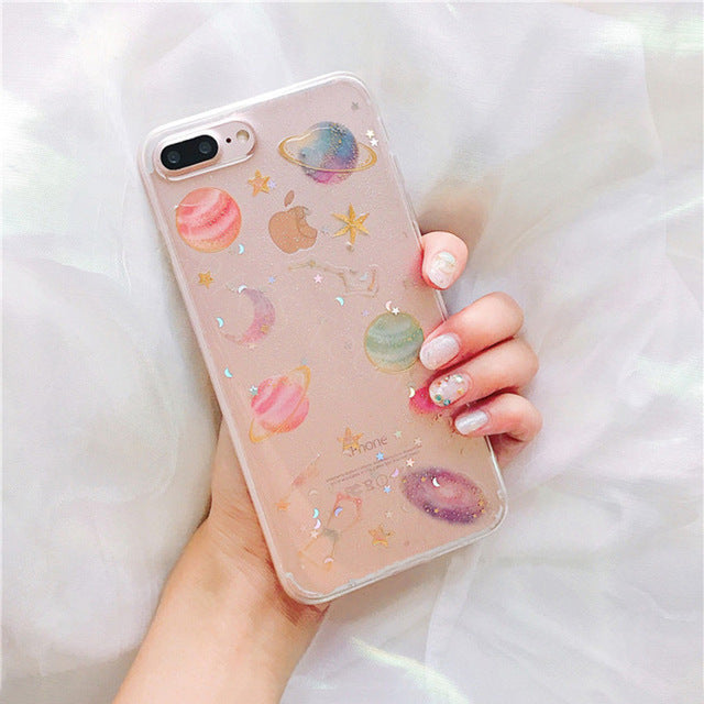Coque Glitter Cute Luxury Transparent Pink  Bling Paillette