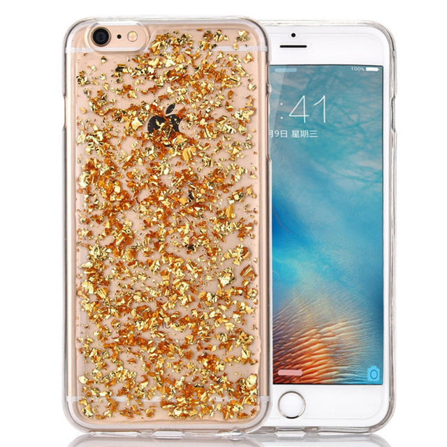 Bling Gold Foil Clear Silicone Case