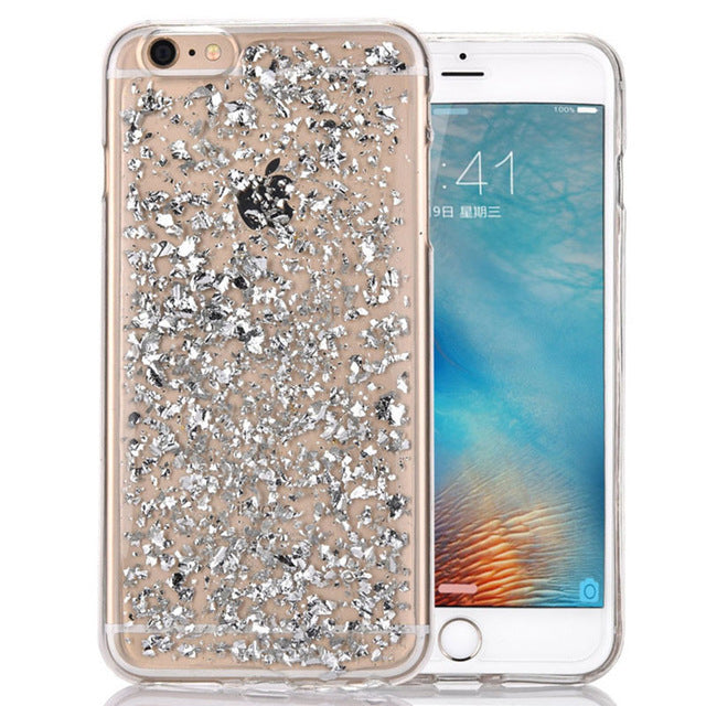 Gold Foil Transparent TPU and Bling Glitter Thin Clear Silicone